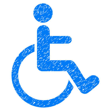 invalid: Grunge Disabled Person icon with grunge design and dirty texture. Unclean vector blue pictogram for rubber seal stamp imitations and watermarks. Draft emblem symbol. Stock Photo