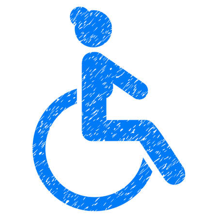 Grunge Disabled Woman icon with grunge design and scratched texture. Unclean vector blue pictogram for rubber seal stamp imitations and watermarks. Draft sticker symbol.