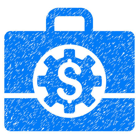 Grunge Bank Career Options icon with grunge design and scratched texture. Unclean vector blue pictogram for rubber seal stamp imitations and watermarks. Draft emblem symbol.