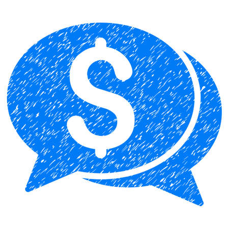 Grunge Financial Chat icon with grunge design and dust texture. Unclean vector blue pictogram for rubber seal stamp imitations and watermarks. Draft emblem symbol. Illustration