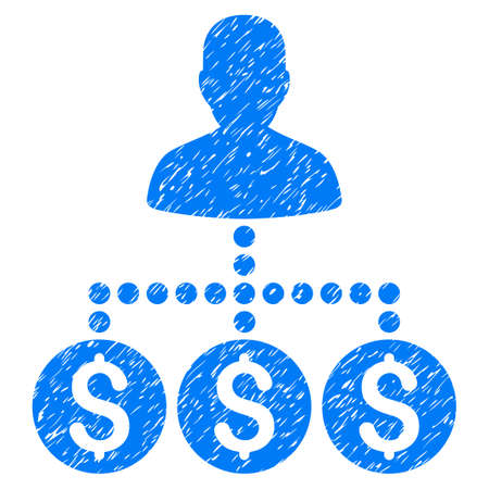 Grunge Money Collector icon with grunge design and dirty texture. Unclean vector blue pictogram for rubber seal stamp imitations and watermarks. Draft sign symbol. Illustration
