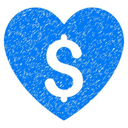 Grunge betaald liefdepictogram met grungeontwerp en gekraste textuur. Unclean vector blauwe pictogram voor rubberen afdichting stempel imitaties en watermerken. Conceptsticker symbool.