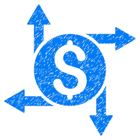 Grunge Spend Money icon with grunge design and dust texture. Unclean vector blue pictogram for rubber seal stamp imitations and watermarks. Draft emblem symbol.