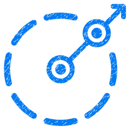 bounds: Grunge Round Area Exit icon with grunge design and unclean texture. Unclean raster blue pictogram for rubber seal stamp imitations and watermarks. Draft sticker symbol.