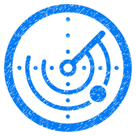 Grunge Round Radar icon with grunge design and unclean texture. Unclean raster blue pictogram for rubber seal stamp imitations and watermarks. Draft sign symbol.