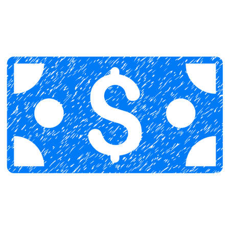 Grunge Dollar Banknote icon with grunge design and scratched texture. Unclean raster blue pictogram for rubber seal stamp imitations and watermarks. Draft emblem symbol.