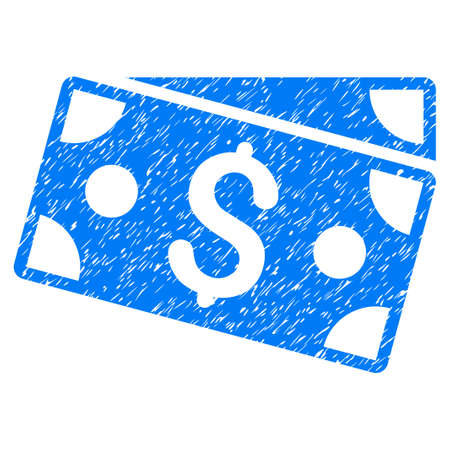 Grunge Dollar Banknotes icon with grunge design and scratched texture. Unclean raster blue pictogram for rubber seal stamp imitations and watermarks. Draft sticker symbol.