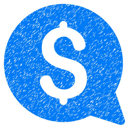 Grunge Financial Message icon with grunge design and dust texture. Unclean raster blue pictogram for rubber seal stamp imitations and watermarks. Draft sign symbol. Stock Photo