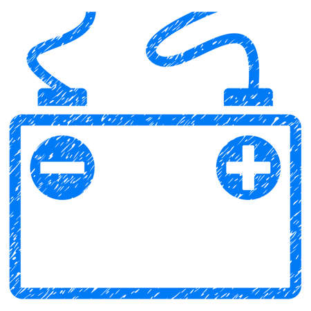 lithium: Grunge Accumulator Battery icon with grunge design and dust texture. Unclean vector blue pictogram for rubber seal stamp imitations and watermarks. Draft sign symbol. Illustration