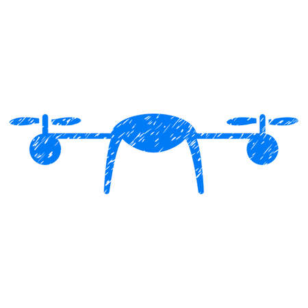 Grunge Airdrone icon with grunge design and unclean texture. Unclean vector blue pictogram for rubber seal stamp imitations and watermarks. Draft emblem symbol.