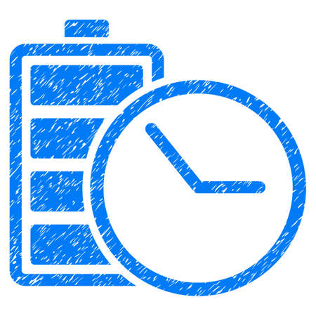 Grunge Battery Clock icon with grunge design and scratched texture. Unclean vector blue pictogram for rubber seal stamp imitations and watermarks. Draft sticker symbol.