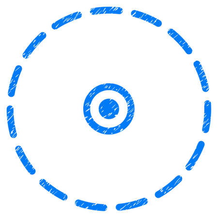 Grunge Circle Area icon with grunge design and dirty texture. Unclean vector blue pictogram for rubber seal stamp imitations and watermarks. Draft sticker symbol.