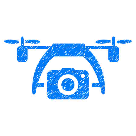Grunge Photo Drone icon with grunge design and scratched texture. Unclean vector blue pictogram for rubber seal stamp imitations and watermarks. Draft sticker symbol.