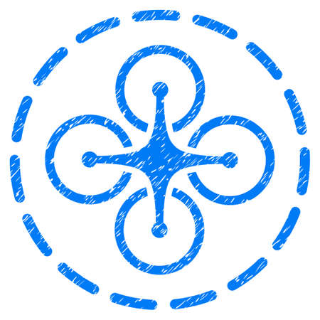 Grunge Drone Flight Area icon with grunge design and unclean texture. Unclean vector blue pictogram for rubber seal stamp imitations and watermarks. Draft sticker symbol. Illustration