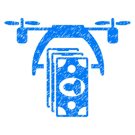 Grunge Drone Payment icon with grunge design and dirty texture. Unclean vector blue pictogram for rubber seal stamp imitations and watermarks. Draft emblem symbol.