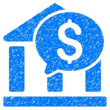 post office building: Grunge Bank Message icon with grunge design and dirty texture. Unclean vector blue pictogram for rubber seal stamp imitations and watermarks. Draft sticker symbol.