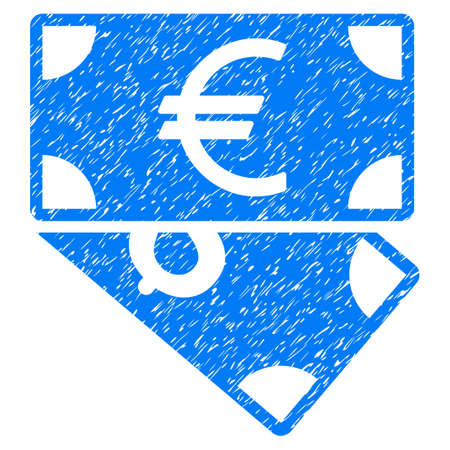 Grunge Euro And Dollar Banknotes icon with grunge design and scratched texture. Unclean raster blue pictogram for rubber seal stamp imitations and watermarks. Draft sign symbol. Stock Photo