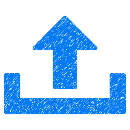 Grunge Upload Container icon with grunge design and scratched texture. Unclean raster blue pictogram for rubber seal stamp imitations and watermarks. Draft sticker symbol.