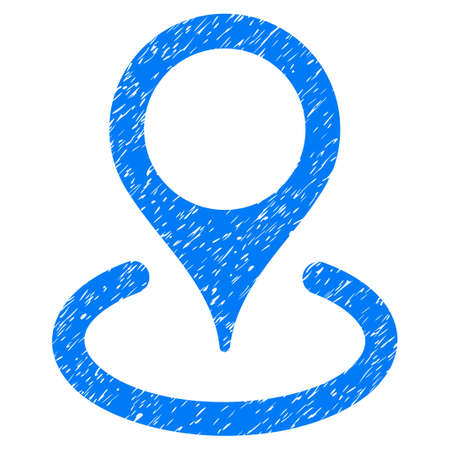 Grunge Place Marker icon with grunge design and dirty texture. Unclean raster blue pictogram for rubber seal stamp imitations and watermarks. Draft sticker symbol.