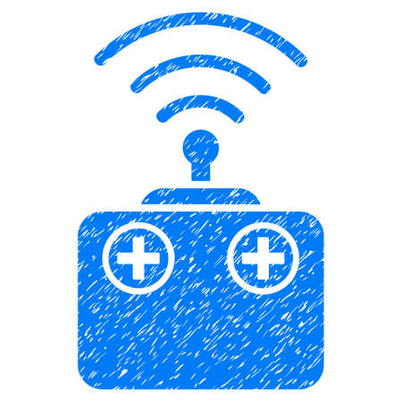 Grunge Radio Control Device icon with grunge design and dirty texture. Unclean raster blue pictogram for rubber seal stamp imitations and watermarks. Draft sticker symbol.