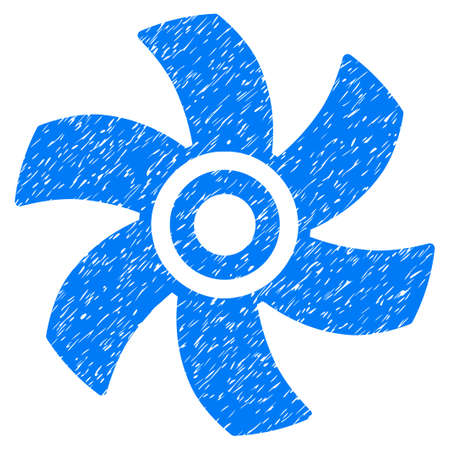 turbine engine: Grunge Rotor icon with grunge design and dirty texture. Unclean raster blue pictogram for rubber seal stamp imitations and watermarks. Draft sticker symbol. Stock Photo