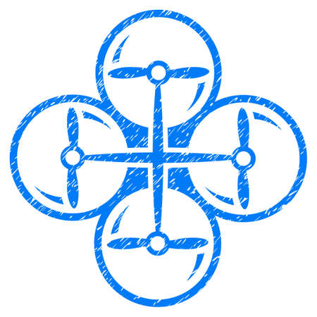 Grunge Quad Copter icon with grunge design and scratched texture. Unclean raster blue pictogram for rubber seal stamp imitations and watermarks. Draft emblem symbol.