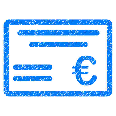 Grunge Euro Cheque icon with grunge design and dirty texture. Unclean vector blue pictogram for rubber seal stamp imitations and watermarks. Draft sign symbol. Ilustração