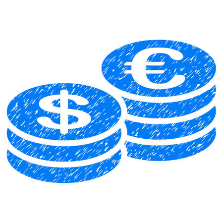 Grunge Euro And Dollar Coins icon with grunge design and unclean texture. Unclean vector blue pictogram for rubber seal stamp imitations and watermarks. Draft sticker symbol.