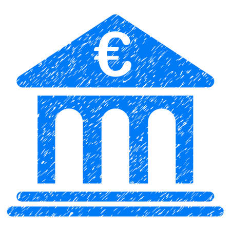 Grunge Euro Bank icon with grunge design and dust texture. Unclean vector blue pictogram for rubber seal stamp imitations and watermarks. Draft sign symbol.