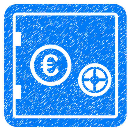 Grunge Euro Safe icon with grunge design and dust texture. Unclean vector blue pictogram for rubber seal stamp imitations and watermarks. Draft emblem symbol. Illustration