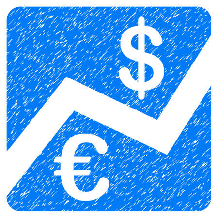 Grunge Euro And Dollar Finance icon with grunge design and scratched texture. Unclean raster blue pictogram for rubber seal stamp imitations and watermarks. Draft emblem symbol.