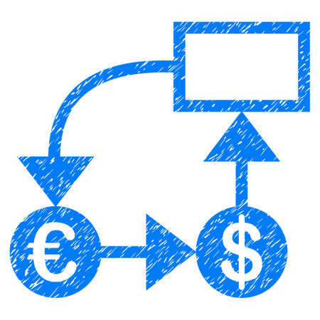 Grunge Euro And Dollar Flow Chart Icon With Grunge Design And