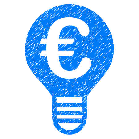 Grunge Euro Bulb icon with grunge design and scratched texture. Unclean raster blue pictogram for rubber seal stamp imitations and watermarks. Draft emblem symbol. Stock Photo