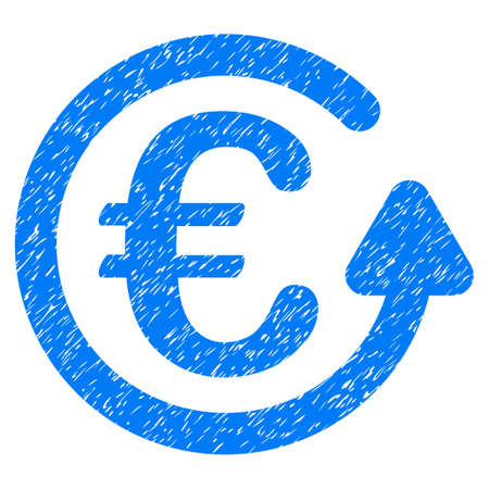 Grunge Euro Chargeback icon with grunge design and dust texture. Unclean raster blue pictogram for rubber seal stamp imitations and watermarks. Draft sign symbol.