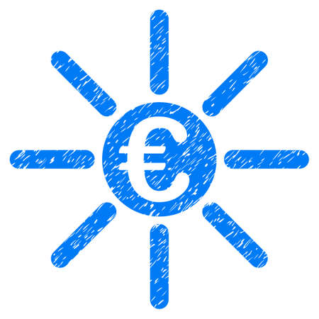 Grunge Euro Distribution icon with grunge design and scratched texture. Unclean raster blue pictogram for rubber seal stamp imitations and watermarks. Draft sign symbol.