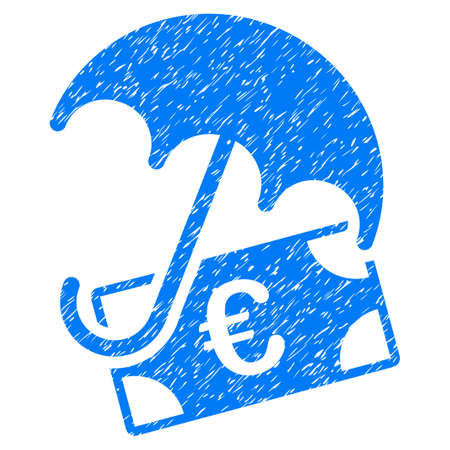 Grunge Euro Financial Umbrella icon with grunge design and dust texture. Unclean raster blue pictogram for rubber seal stamp imitations and watermarks. Draft sign symbol.