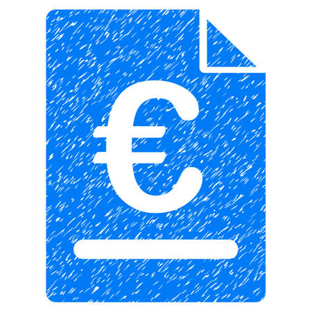 Grunge Euro Invoice icon with grunge design and dust texture. Unclean raster blue pictogram for rubber seal stamp imitations and watermarks. Draft sign symbol. Stock Photo