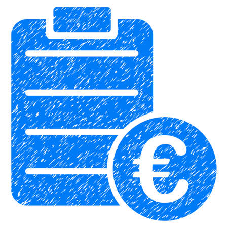 Grunge Euro Pad icon with grunge design and dirty texture. Unclean raster blue pictogram for rubber seal stamp imitations and watermarks. Draft sign symbol.