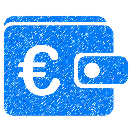 Grunge Euro Purse icon with grunge design and dust texture. Unclean raster blue pictogram for rubber seal stamp imitations and watermarks. Draft sign symbol. Stock Photo