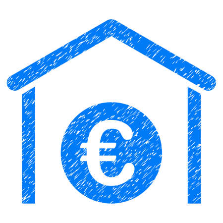 Grunge Euro Storage Garage icon with grunge design and dust texture. Unclean raster blue pictogram for rubber seal stamp imitations and watermarks. Draft sticker symbol.