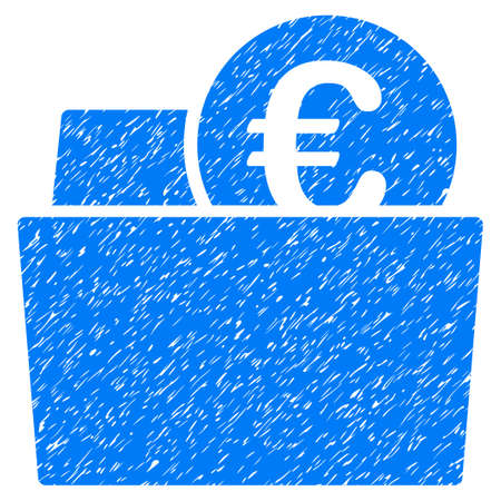 billfold: Grunge Euro Wallet icon with grunge design and dirty texture. Unclean raster blue pictogram for rubber seal stamp imitations and watermarks. Draft sticker symbol.