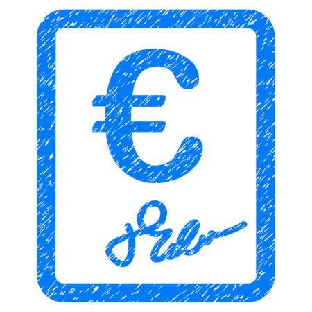 Grunge Euro Signed Contract icon with grunge design and dust texture. Unclean raster blue pictogram for rubber seal stamp imitations and watermarks. Draft sign symbol.