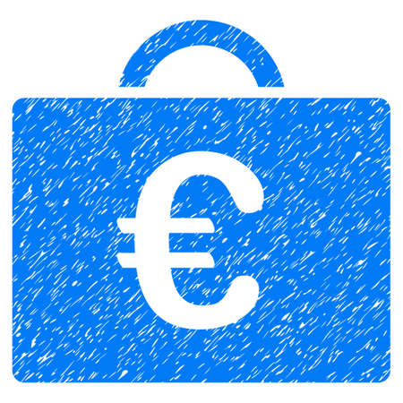 Grunge Euro Bookkeeping Case icon with grunge design and scratched texture. Unclean vector blue pictogram for rubber seal stamp imitations and watermarks. Draft emblem symbol. Illustration