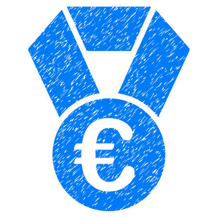 Grunge Euro Champion Medal icon with grunge design and dust texture. Unclean vector blue pictogram for rubber seal stamp imitations and watermarks. Draft sticker symbol.