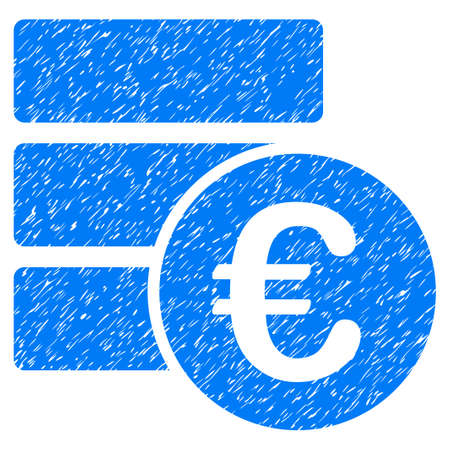 Grunge Euro Database icon with grunge design and scratched texture. Unclean vector blue pictogram for rubber seal stamp imitations and watermarks. Draft emblem symbol. Illustration