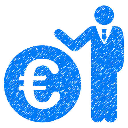 Grunge Euro Economist icon with grunge design and dust texture. Unclean vector blue pictogram for rubber seal stamp imitations and watermarks. Draft sign symbol.