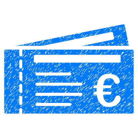 Grunge Euro Tickets icon with grunge design and dirty texture. Unclean vector blue pictogram for rubber seal stamp imitations and watermarks. Draft emblem symbol.