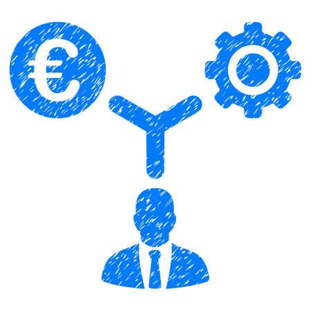 Grunge Euro Financial Development icon con diseño grunge y textura de polvo. Pictograma azul del vector sucia para las imitaciones del sello de goma y las filigranas. Proyecto de emblema símbolo.