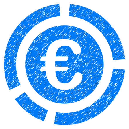 Grunge Euro Financial Diagram icon with grunge design and dust texture. Unclean vector blue pictogram for rubber seal stamp imitations and watermarks. Draft emblem symbol. Illustration