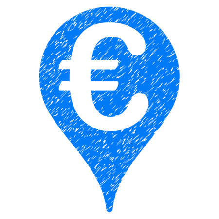 market place: Grunge Euro Map Pointer icon with grunge design and dirty texture. Unclean raster blue pictogram for rubber seal stamp imitations and watermarks. Draft sign symbol.